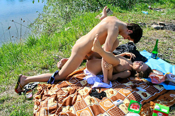 Amateur couple is on picnic